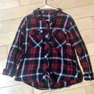 Black and red plaid button-down top